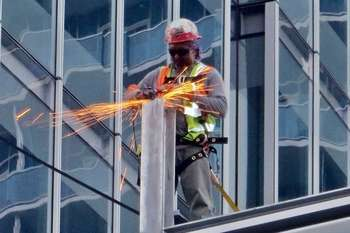 Office building construction worker