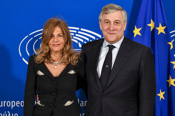 Emma Marcegaglia e Antonio Tajani - photo credit European Parliament