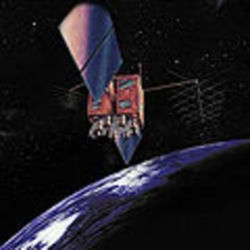 Artist's impression of a GPS-IIR satellite in orbit