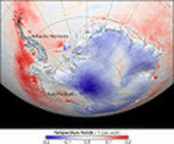 skin temperatures—temperatures from roughly the top millimeter of the land or sea surface—of Antarctica from 1982 to 2004, NASA
